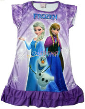 Disney Frozen Elsa Anna Children Kids Party Dress Girls Pajama Skirt 3-10 Purple