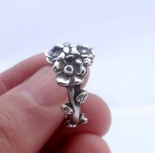 Vintage silver spoon ring Reed & Barton Harlequin floral ring Apple Blossom Mon