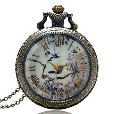 Vintage Gift Chinese Painting Glass Quartz Pocket Watch Necklace Pendent Chain