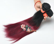Fast Shipping Malaysian Human Hair Extensions Black Red Straight 3 Bundles/300g