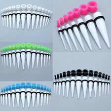 28Pc Acrylic Ear Tapers Stretcher Soft Silicone Tunnels Plugs Stretching Kit Set