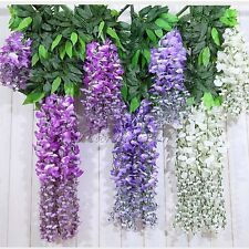 12x Artificial Silk Wisteria Fake Garden Hanging Flower Plant Vine Wedding Decor