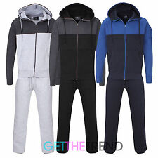Mens Plain Fleece Lined Full Tracksuit Men's Cotton Hooded Top Trackie Bottoms