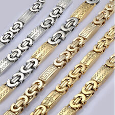 Mens Chain Silver Gold Tone Flat Byzantine Link Stainless Steel Necklace 18-36''