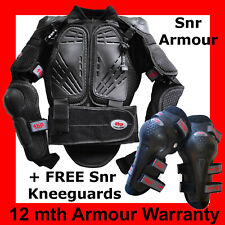 MOTOCROSS BODY ARMOUR SENIOR (+ Free Knee Guards) All Snr Motox Sizes to 5XL