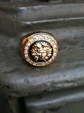 MEDUSA RING VERSACE/GREEK STYLE WITH GOLD/BLACK TONE & CZ STONES