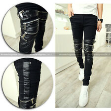 Men's Punk Rock Armor Motorcycle Rider Zipper Faux Leather Patched Skinny Pants