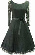 VTG 50'S BLACK LACE FIT & FLARE COCKTAIL DRESS WEDDING RACES HOLLYWOOD PIN UP
