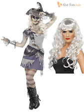 Adult Ladies Sexy Ghost Ship Zombie Pirate Costume + Wig Halloween Fancy Dress