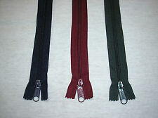 """5 - 12"""" Navy Blue or Wine or Forest Green # 5 Closed End Coil Zippers"""