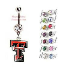 NCAA TEXAS TECH RED RAIDERS AUTHENTIC LOGO CHARM DANGLE BELLY RING! NRNHL-125