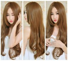 Girl's Long Curly Wavy Brown /Flaxen Cute Wigs Heat Resistant Hair Cosplay Party