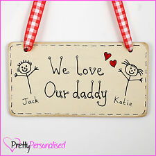 Fathers Day Gift - Wooden Wall Plaque I Love My Daddy Baby Newborn Son Daughter