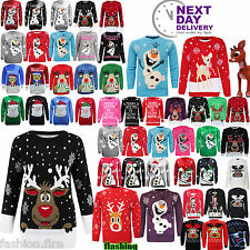 Womens Mens Kids Ladies XMAS Snowman Reindeer Rudolph Christmas Jumpers Sweater