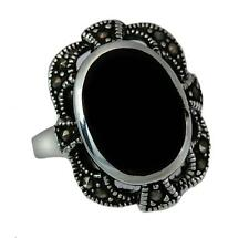 Black Onyx Inlay and Marcasite Ring 925 Solid Sterling Silver Size 6 - 9 NWT