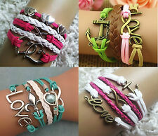 Beautiful Anchor Heart Love Pearl Braided Leather Bracelets *UK SELLER*