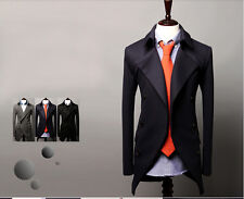 Men's Long Sleeve Double-breasted Blazer Suits Long Coat Jackets-3Color 4Size