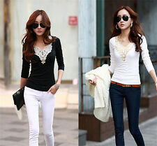Fashion Korean T Shirt Lace Blouse Womens Casual Long Sleeve Loose Slim Tops A