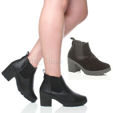 WOMENS LADIES HIGH BLOCK CHUNKY HEEL RIDING CHELSEA ANKLE BOOTS SIZE