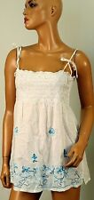 ING.COM BLOUSE TOP WHITE AQUA  STRAPS FLORAL CRAFTED BEADS MG 353-1 SIZE LARGE