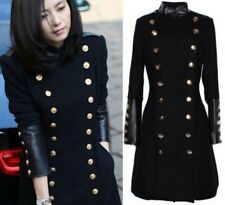Womens Military Trench Coat Slim Fit Wool Blend Double Breasted Long Jacket Coat