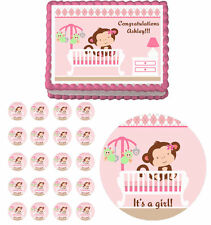 Monkey Girl in crib Baby shower Edible Cake Topper Cupcake Decoration Birthday