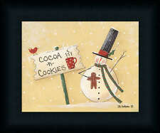 Cocoa and Cookies Snowman Holiday Décor Framed Art Print Wall Décor Picture