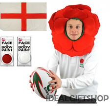 ENGLISH ROSE HAT ENGLAND FLAG RED WHITE FACEPAINT FANCY DRESS RUGBY WORLD CUP