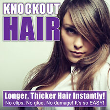 "Halo Hair Extensions 20"" - No Clip In One Piece Human Couture by Knockout Hair"