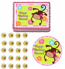 Monkey Love Edible Birthday Party Cake Topper Cupcake Image Decoration