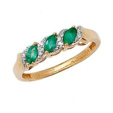 9ct Yellow Gold Emerald & 2pt Diamond 3 Stone Fancy Eternity Style Ring RD274E