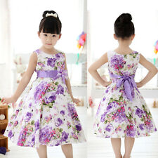 Girls Kids Princess Christmas Party Purple Flower Bow Gown Formal Dresses 2-11Y