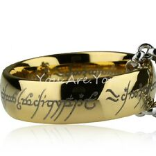 "Lord of the Rings ""The One Ring"" Bilbo's Hobbit Ring Tungsten Gold w/chain LOTR"