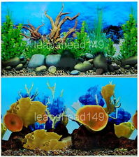 "20""tall (50cm)""WOOD/CORAL"" 2 SIDED BACKGROUND AQUARIUM PICTURE FISH TANK DECOR"