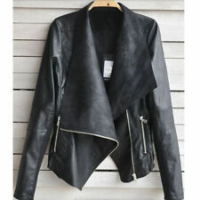 Black Vintage Womens Slim Biker Motorcycle PU Soft Leather Zipper Jacket Coat