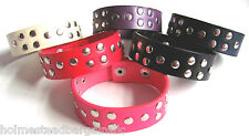 Unisex Genuine Leather Silver Flat Studded Goth Punk Rock Cuff Bracelet  NEW