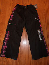 NWT GIRLS ZEROXPOSUR SNOWSUIT SNOW SKI PANTS BLACK PINK SIZE 4 KIDS