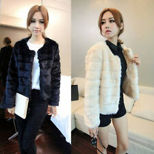 2014 New Winter Warm Women Lady Tops-Cropped Fur Overcoat Outwear Jackets Coats