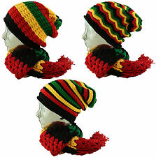 RASTA Reggae Pull On Knitted Slouch Beanie Cap Hat + Chunky Scarf   Combo Set