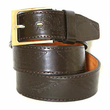 MENS BELT CASUAL CELEBRITY WAISTBAND JEANS CLASSIC GENUINE LEATHER SILVER BUCKLE