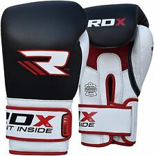 Auth RDX Leather Gel Boxing Gloves MMA Fight Punch Bag Muay Thai Grappling Pad U