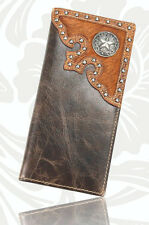MEN'S WALLET, WESTERN STYLE, LARGE CHECKBOOK SIZE, GENUINE LEATHER