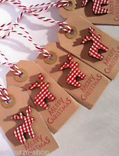 Small Christmas gift labels tags East of India pack x3 x5 reindeer
