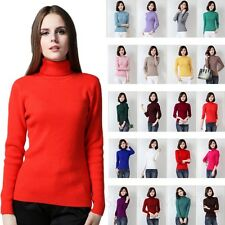 Long Sleeved Womens Roll Neck Jumper Wool Top Winter Cashmere Sweater Size 8-0