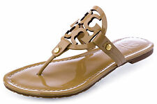 TORY BURCH Miller Patent Leather Logo Thong Sandals Shoes Sand $195
