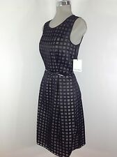 Calvin Klein NWT Black Elegant Dress , see thru top , patent belt , flare skirt