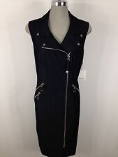 Calvin Klein Beautiful Denim Dress Silver Side Zippers and Gold Ornaments