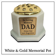 White & Gold Grave Vase - Pot & Personalised Name Plaque for Head Stone Crem