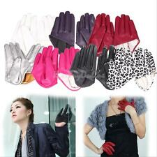 Fashion Ladies Sexy Tight PU Leather Women Five Finger Half-Palm Gloves