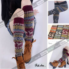 Christmas NEW Stretched Knit Vintage Nordic Snow Boho boots Leg Warmers Socks